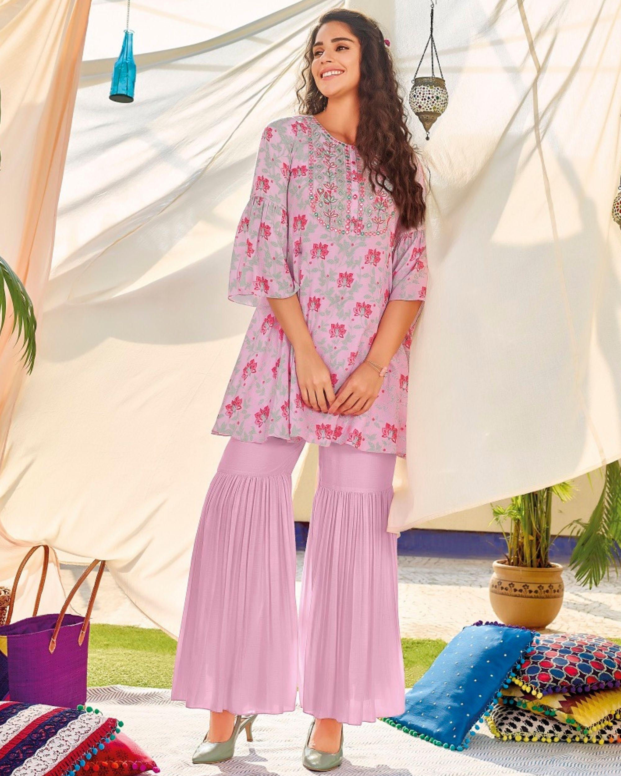 Pink digital printed kurta and sharara - set of two