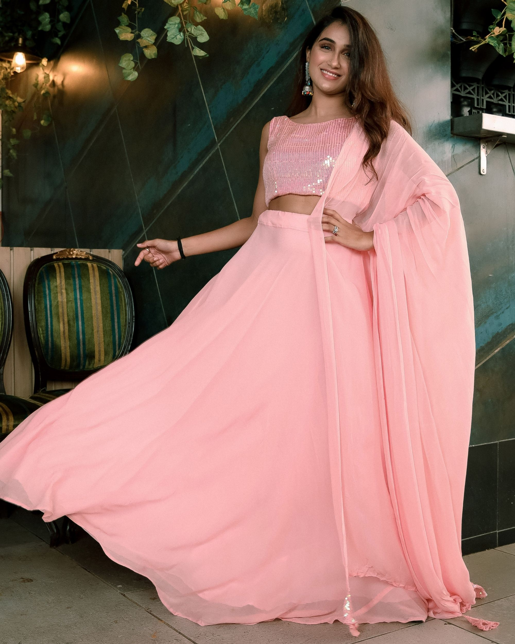 Pink sequined crop top and georgette flared lehenga with dupatta - set of three