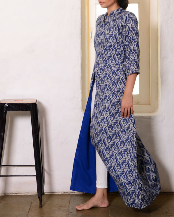 Blue low slit cape