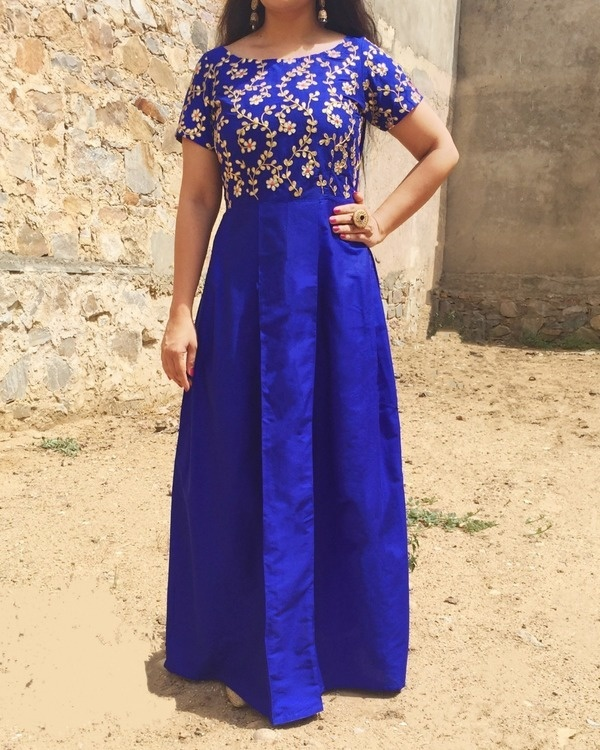 Royal blue pleated dress