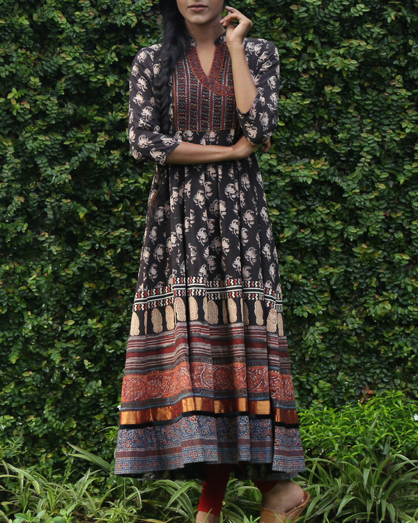 Black block printed anarkali kurta