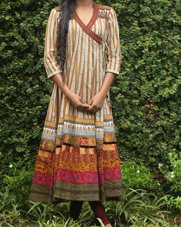 Striped cotton angrakha