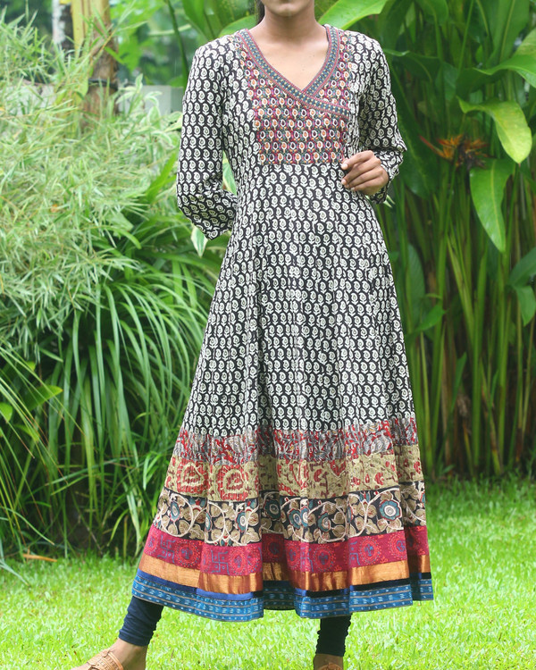Black and off white block printed anarkali kurti