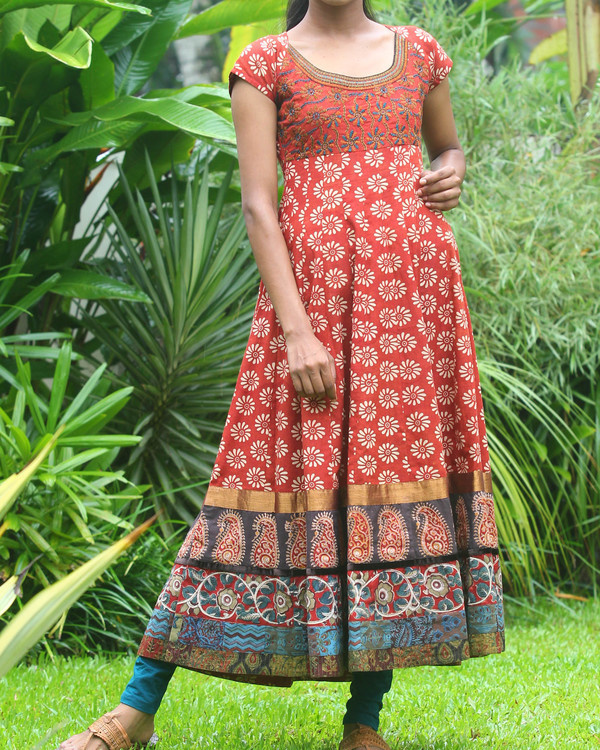 Rust and off white floral anarkali kurti