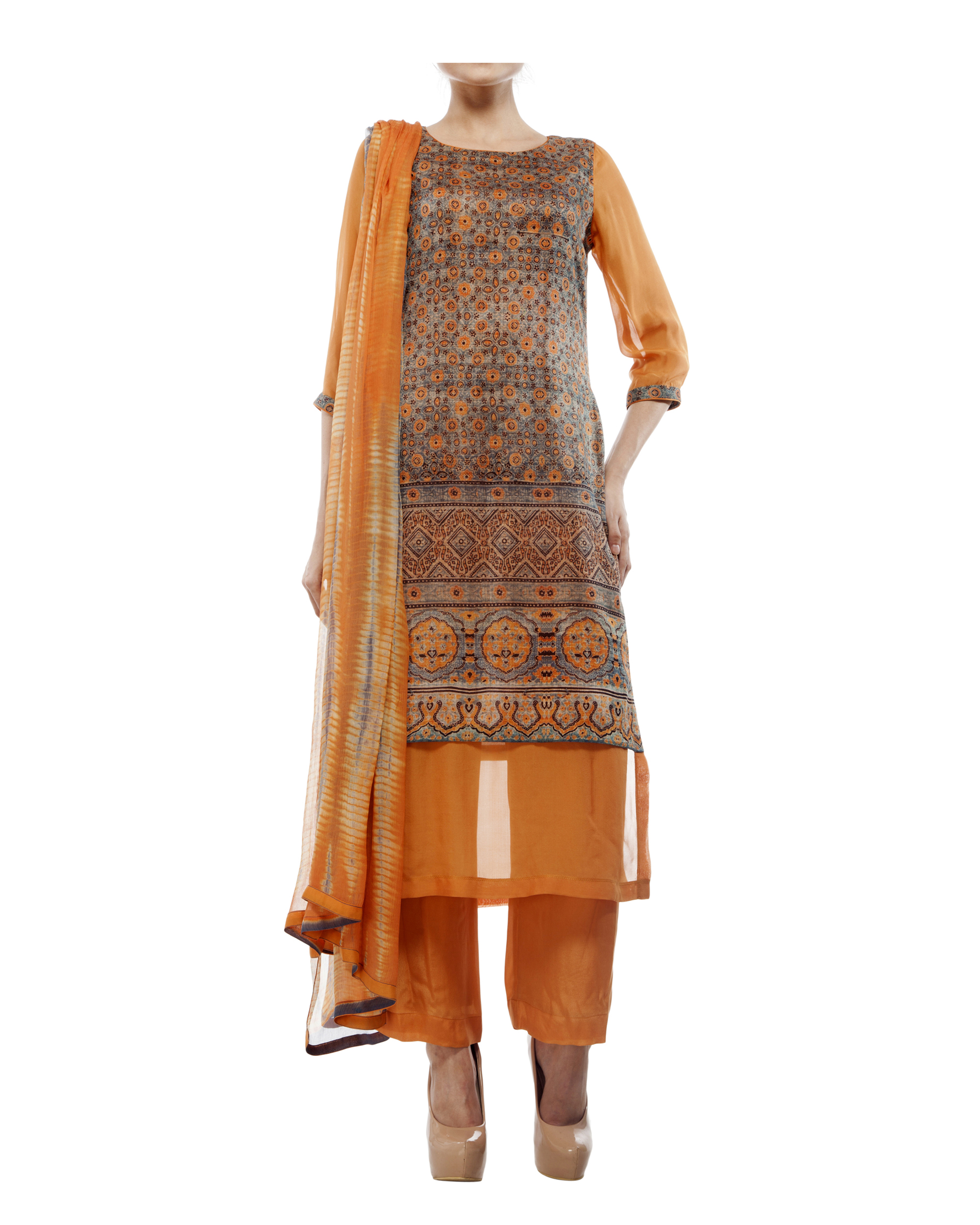Ajrakh print round neck  kurta with chiffon layer, comes with a palazzo  tie & dye dupatta