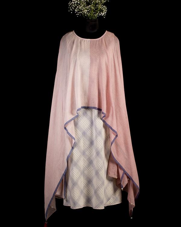 Ecru and blue poncho scarf dress