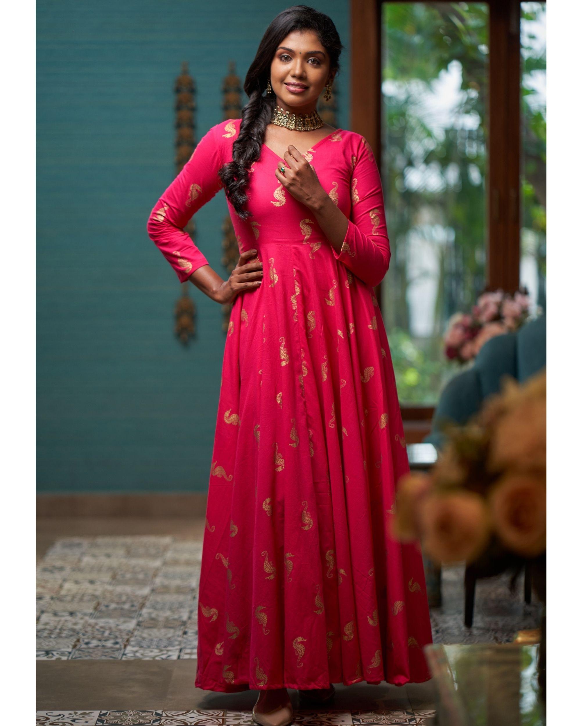 Rani pink seahorse printed dress