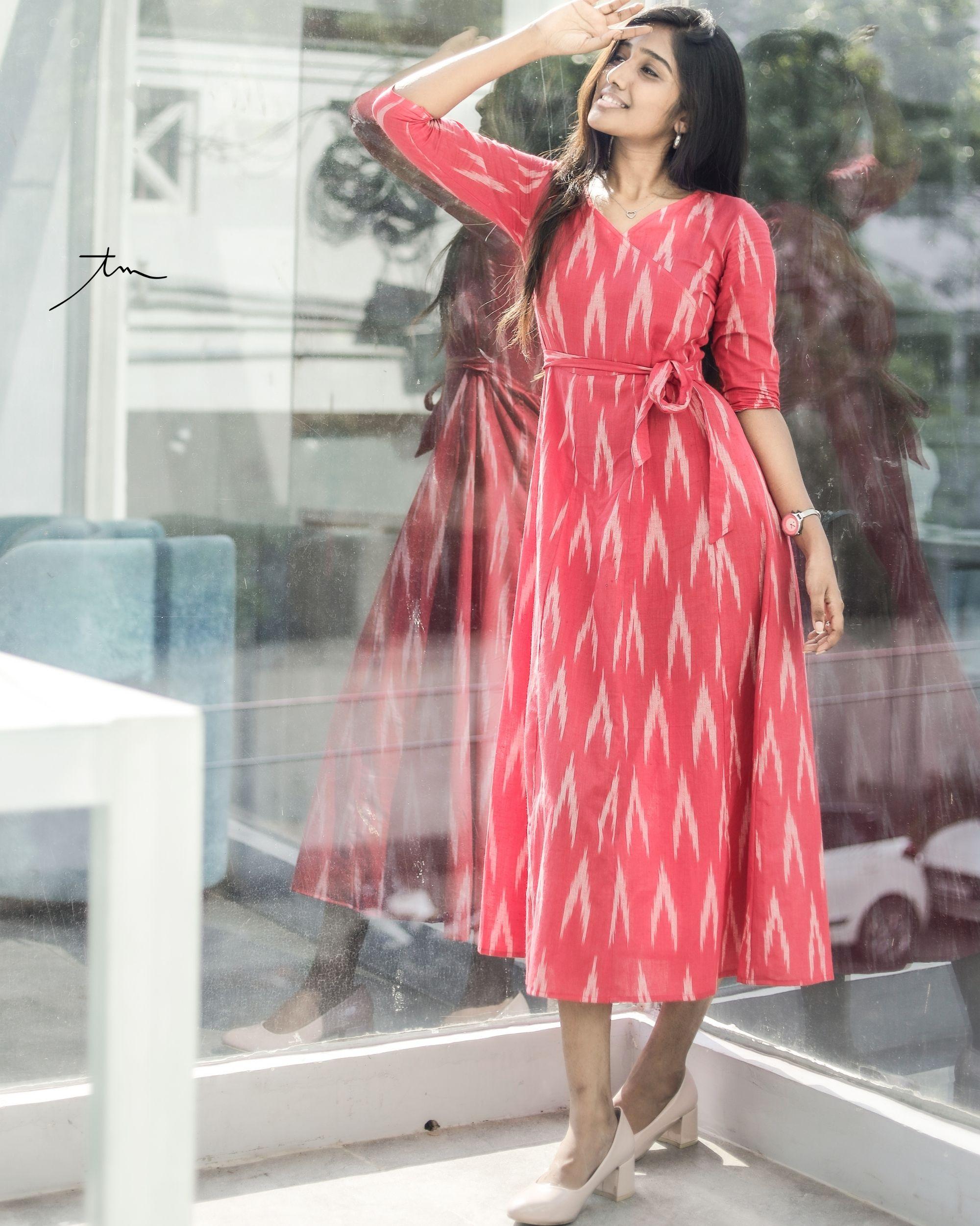 Pink ikkat angrakha dress