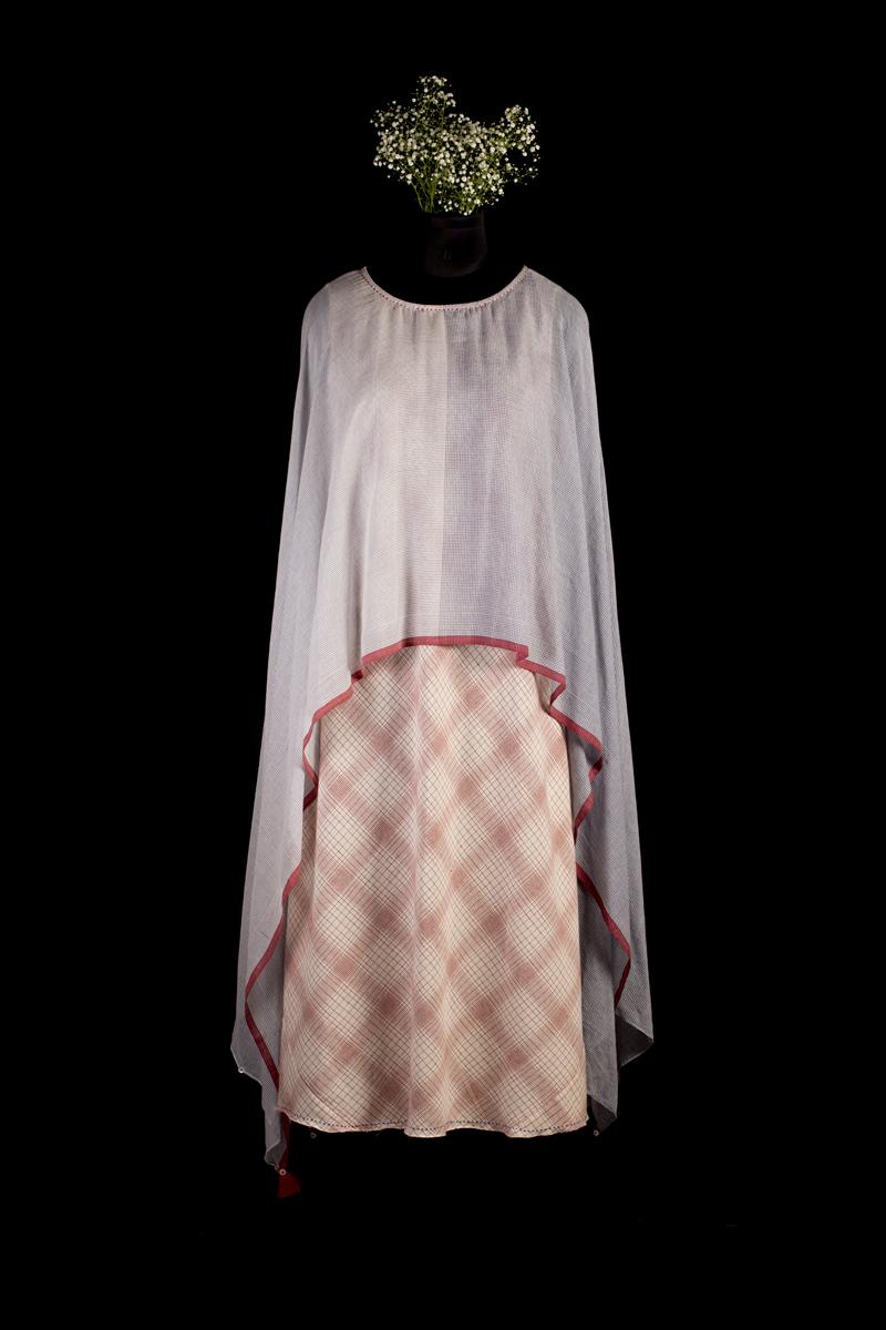 Ecru and red poncho scarf dress