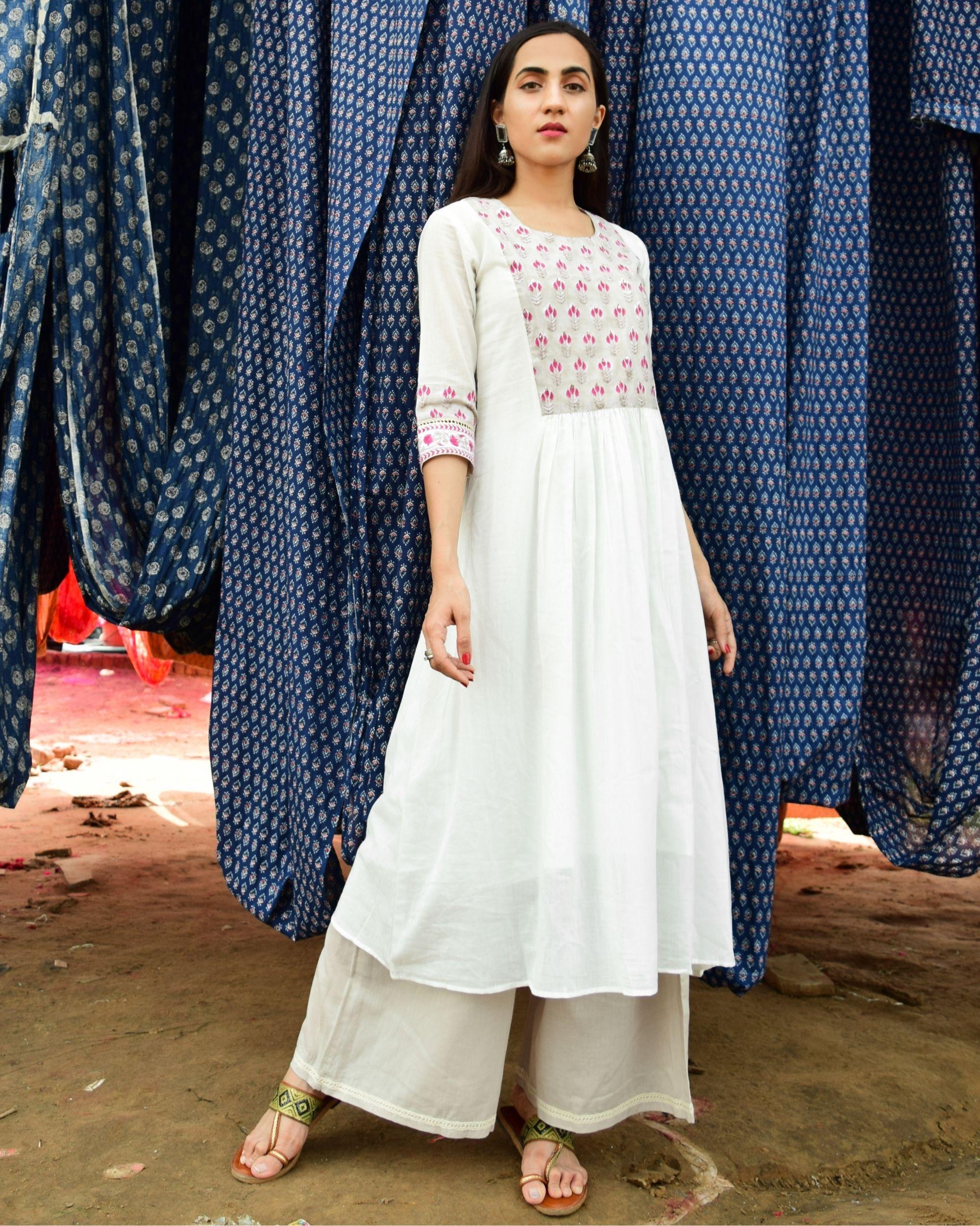 Pristine white mulmul hand block printed mughal yoke kurta and mulmul slip with mulmul palazzo - set of three