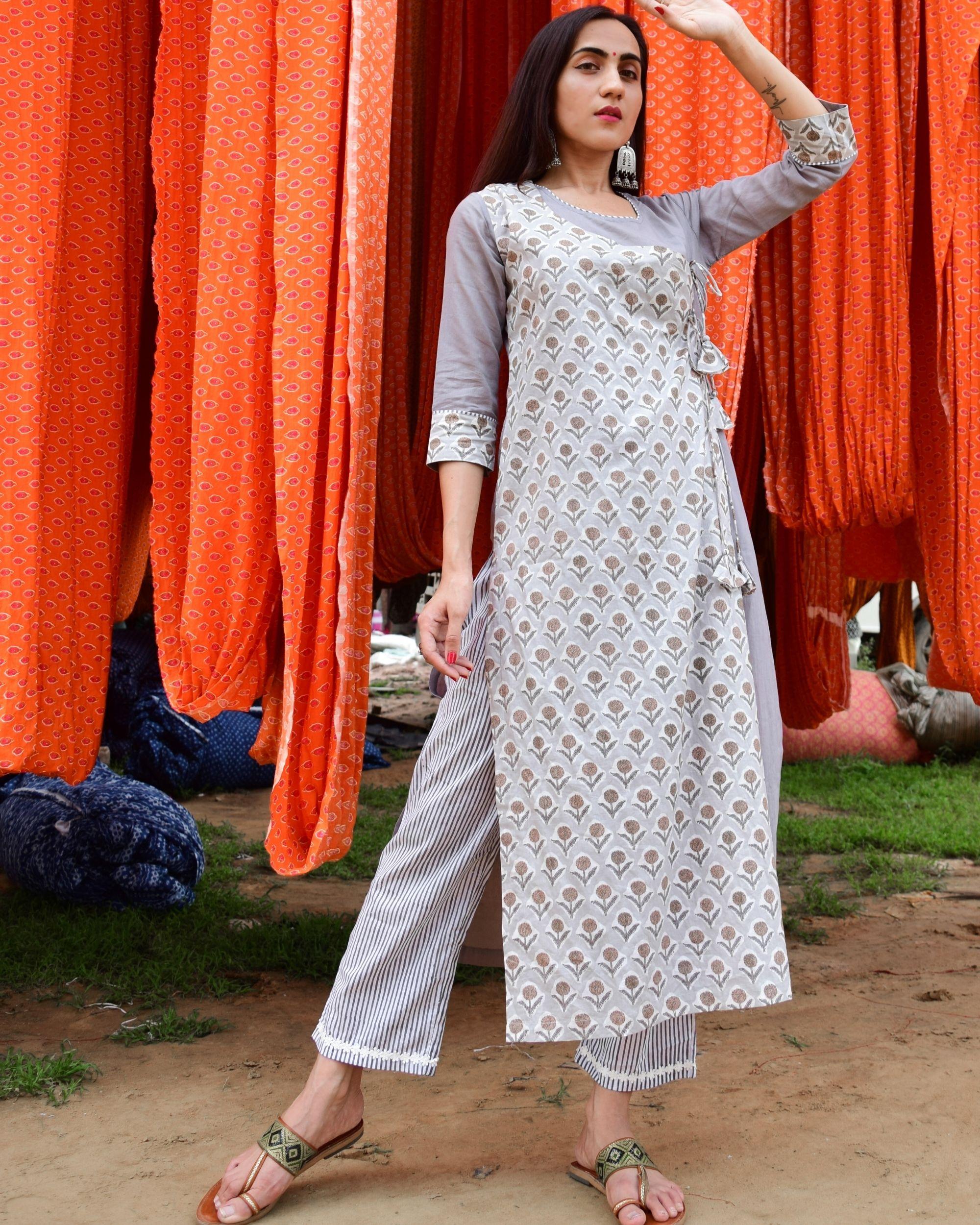 Grey hand block printed angrakha kurta and pants - set of two