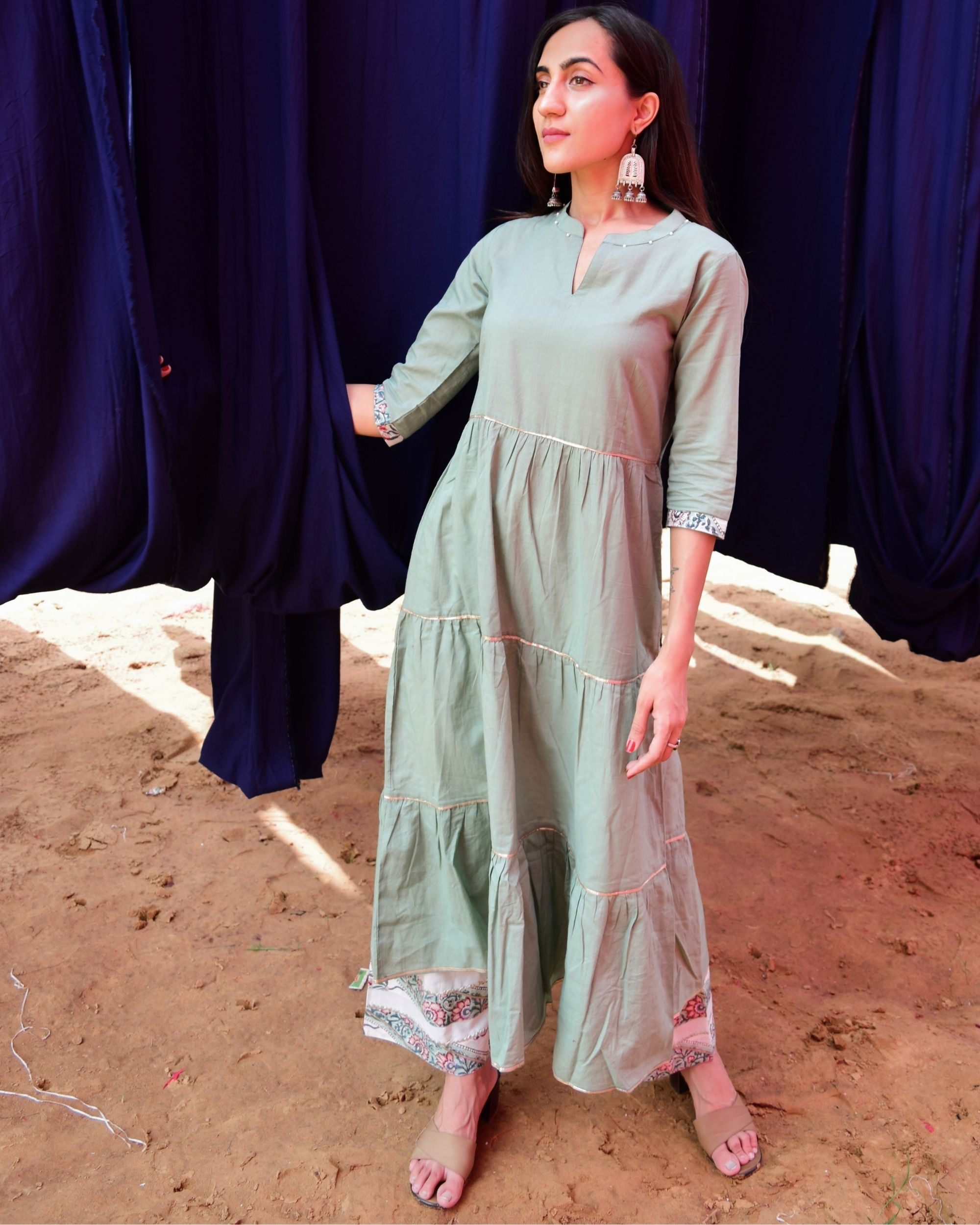 Mint green tiered kurta with white hand block printed gota pants - set of two