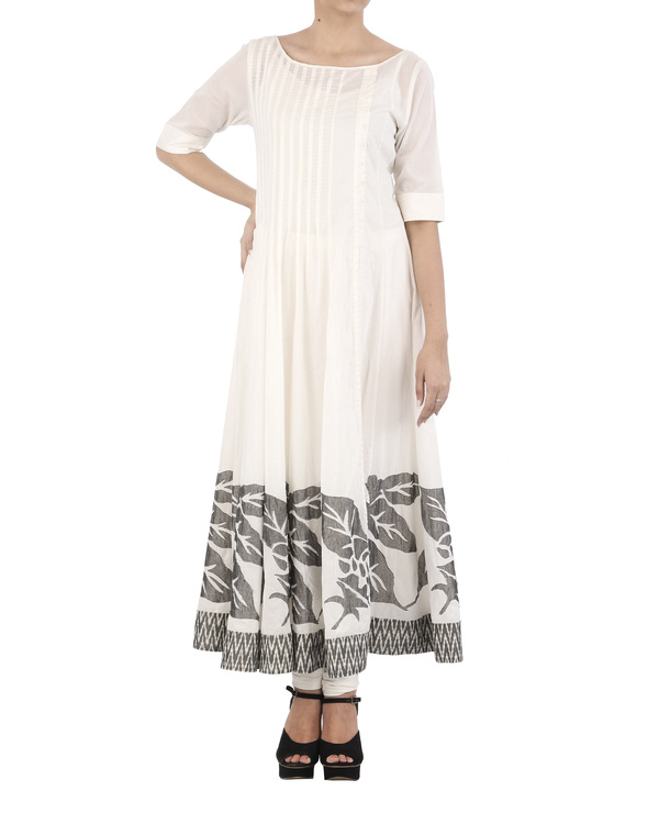 White cotton Dress with grey applique