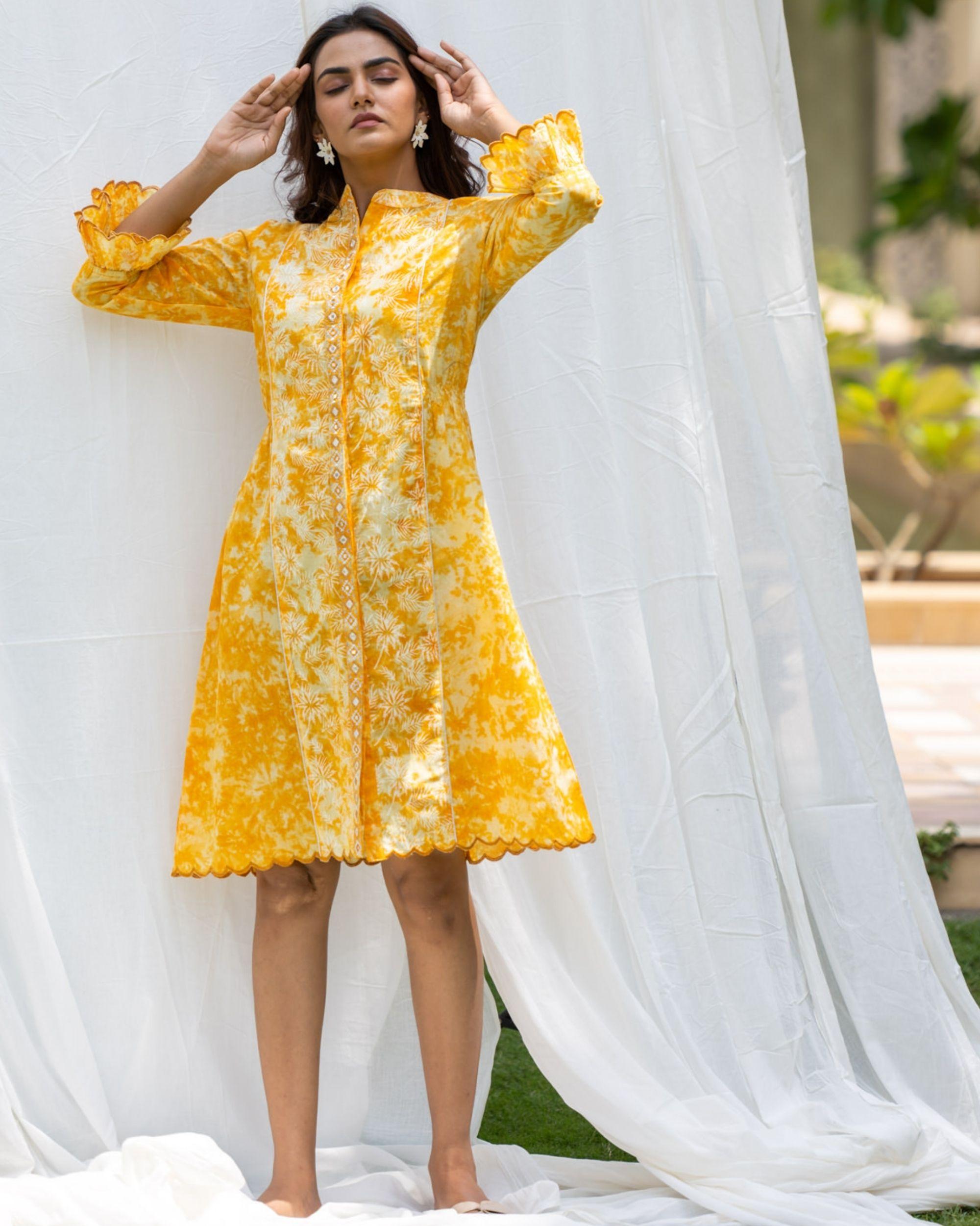 Sunshine yellow mirror work shirt dress