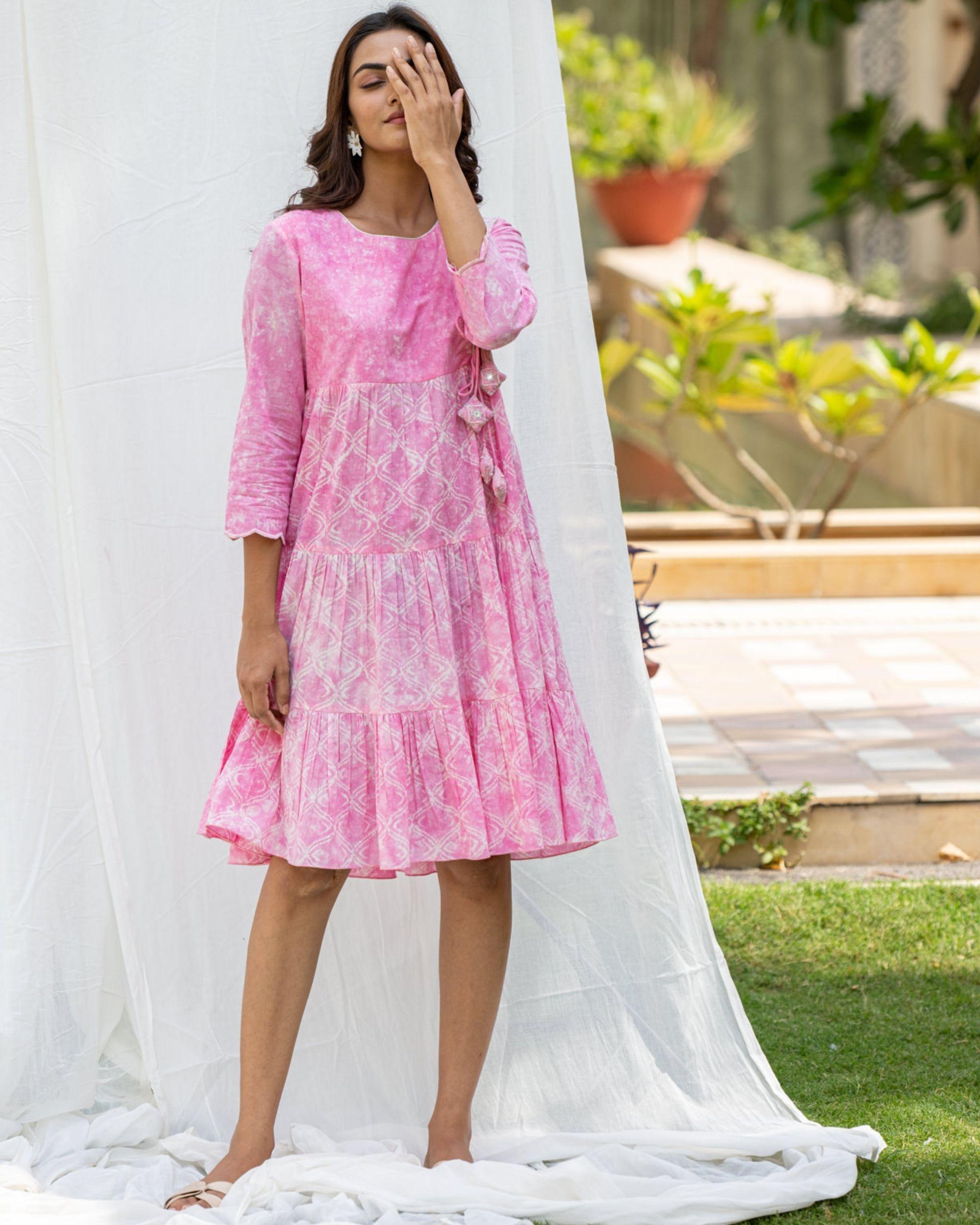 Blush pink tiered flare dress