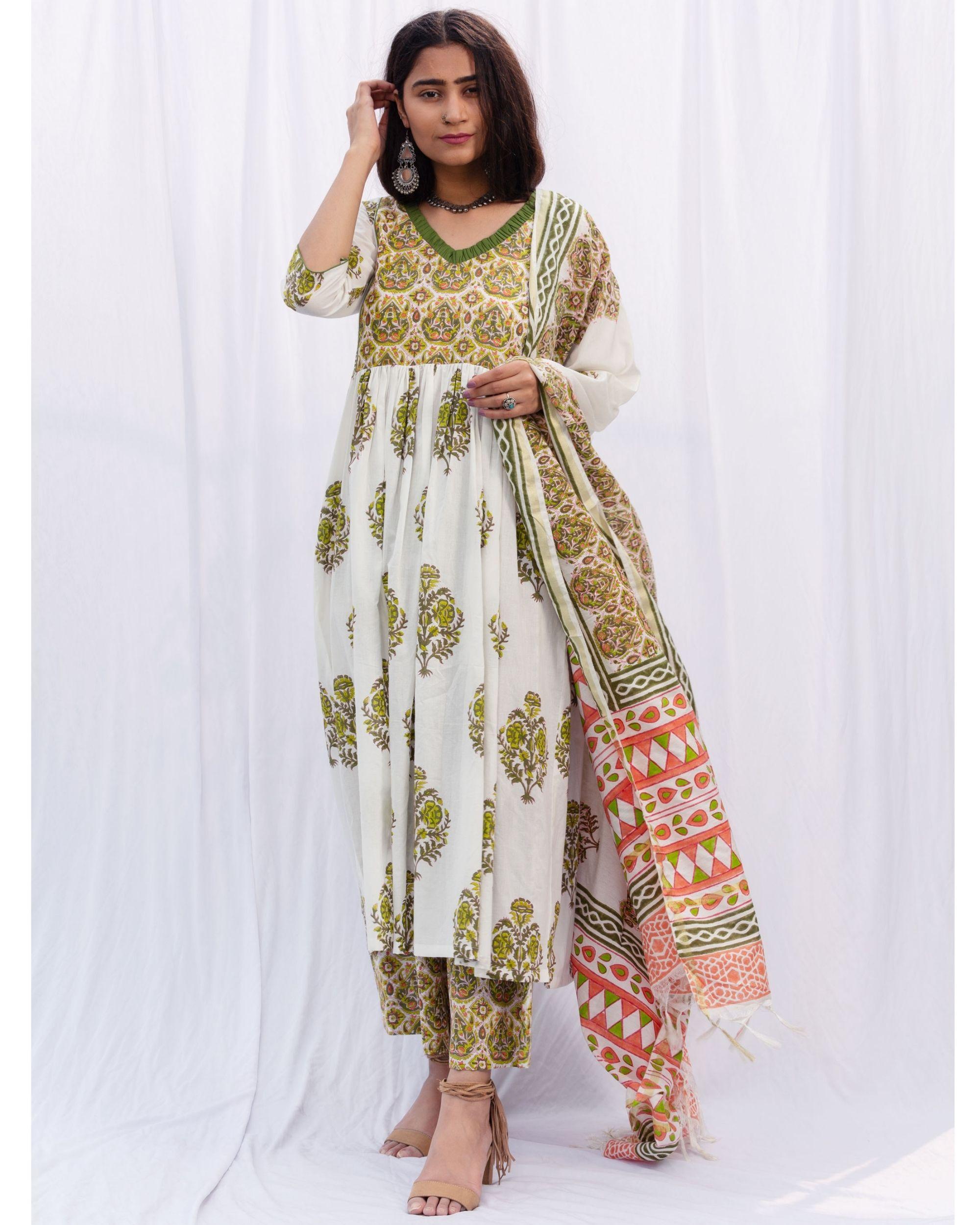 Green jhaalar kurta and jaal hand block printed palazzo with cotton chanderi kota dori duppatta - set of three