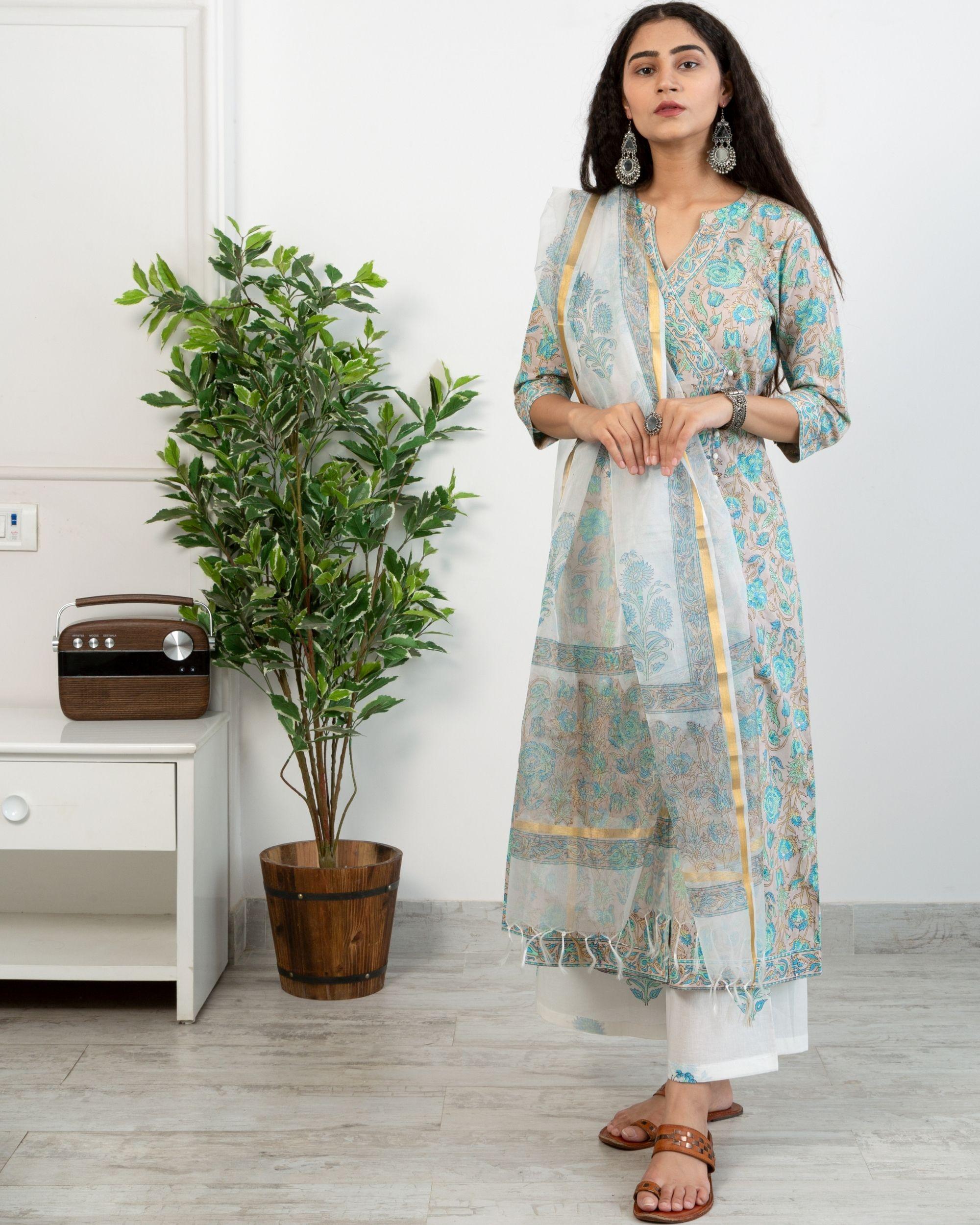 Pastel blue floral anghrakha kurta and white printed pants with chanderi handblock printed dupatta - set of three