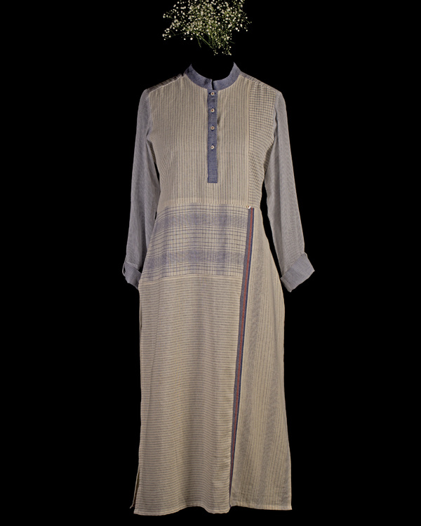 Blue patchwork kurta