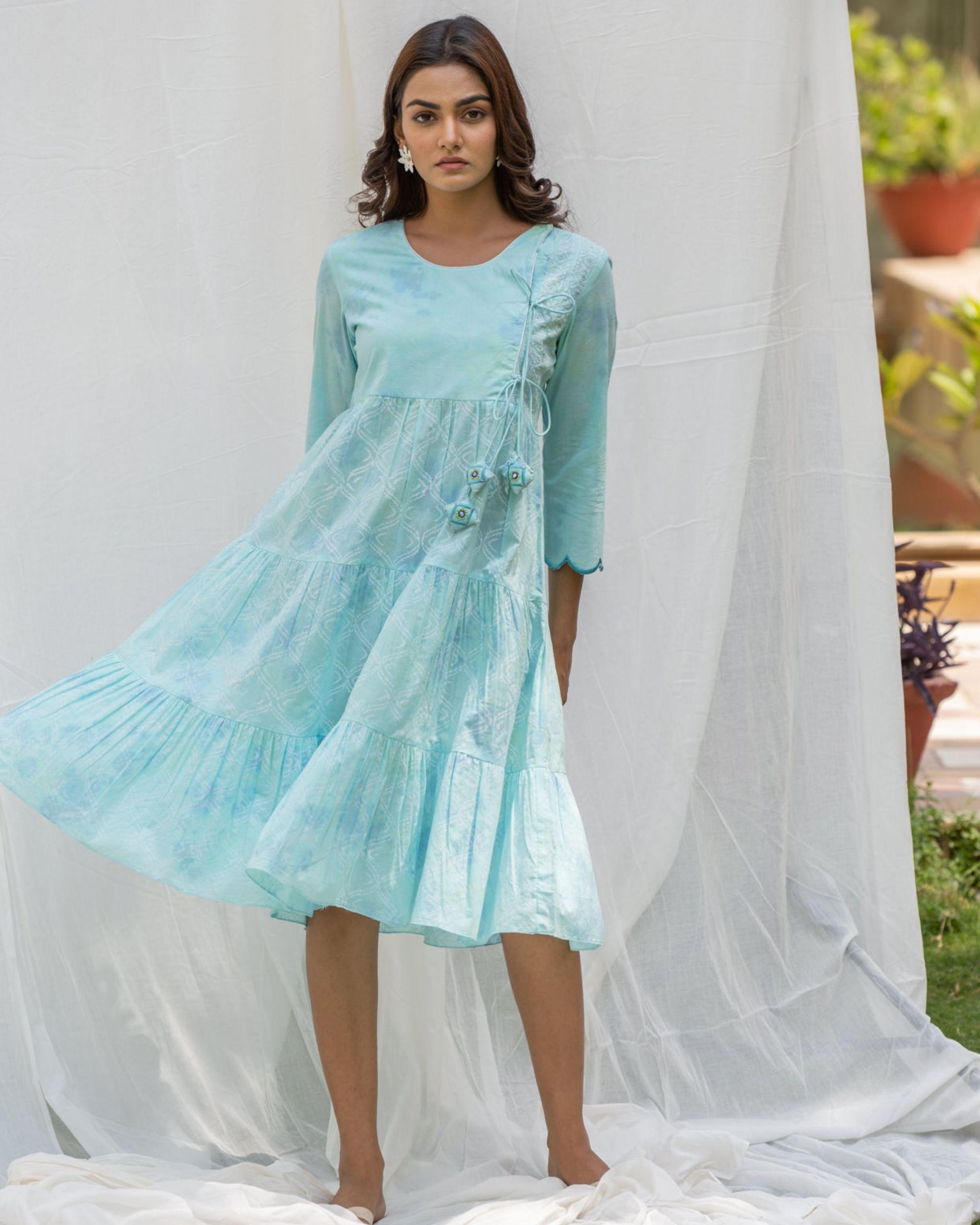 Aqua blue tiered flare dress