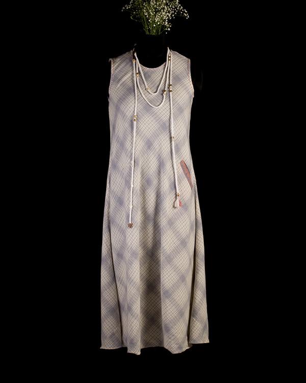 Blue checkered dress with neckpiece