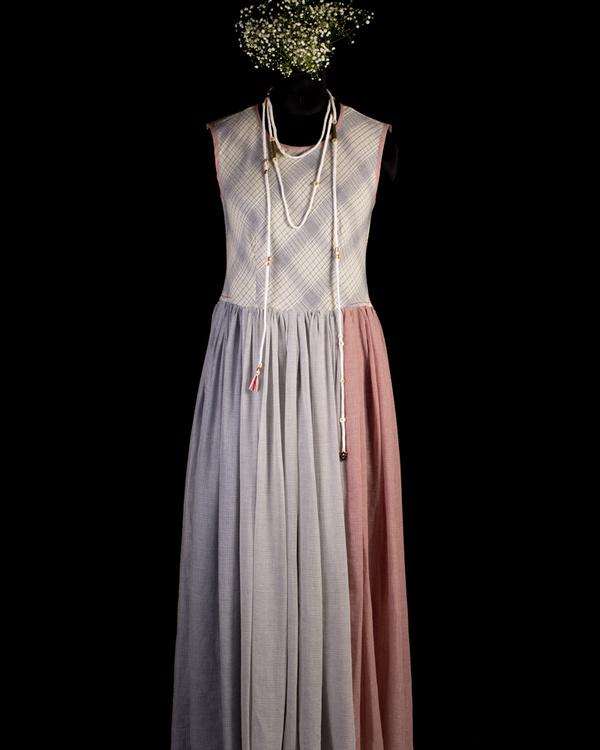 Gathered maxi dress with neckpiece