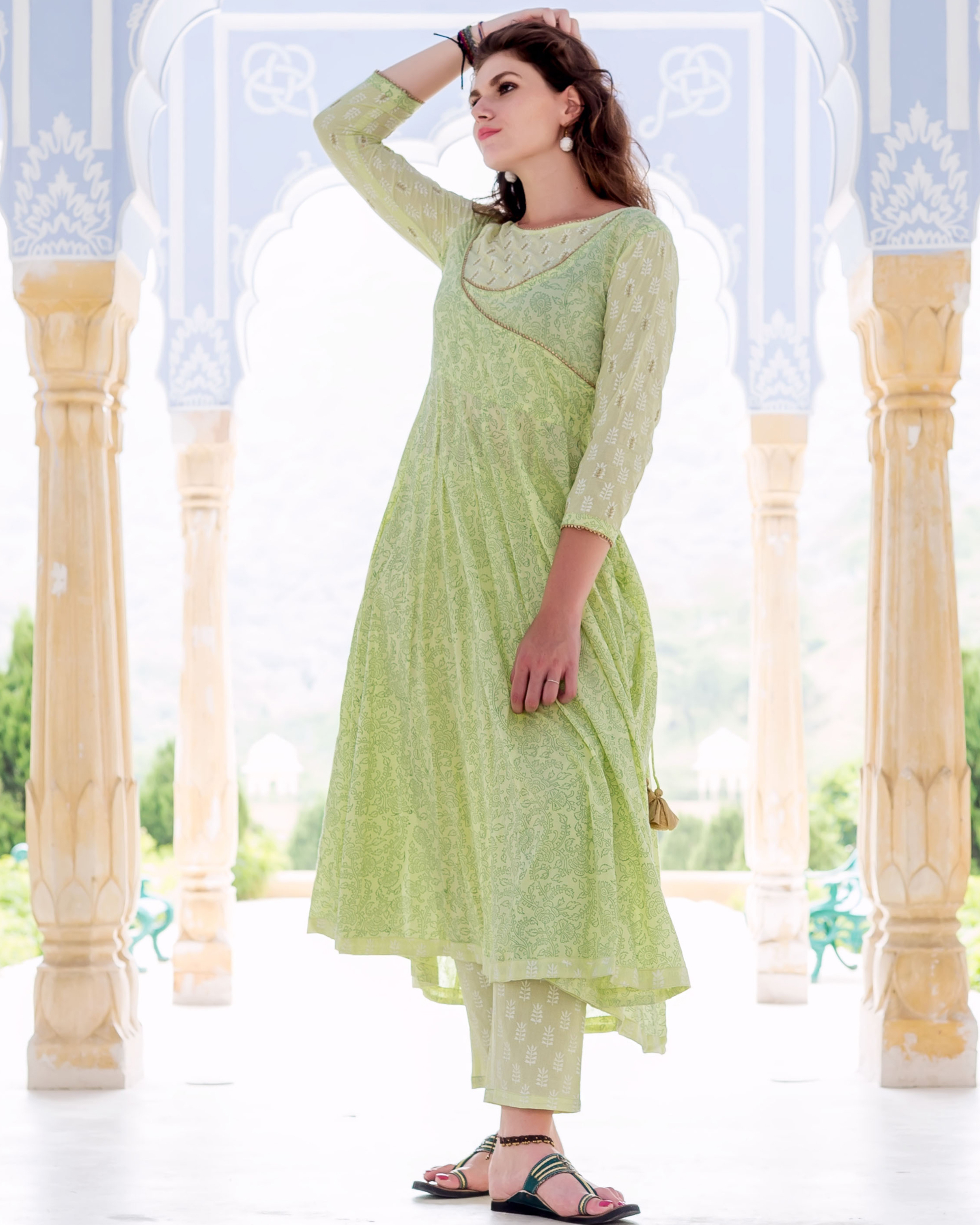 Lime green hand block printed and embroidered anarkali kurta with pants - set of Two