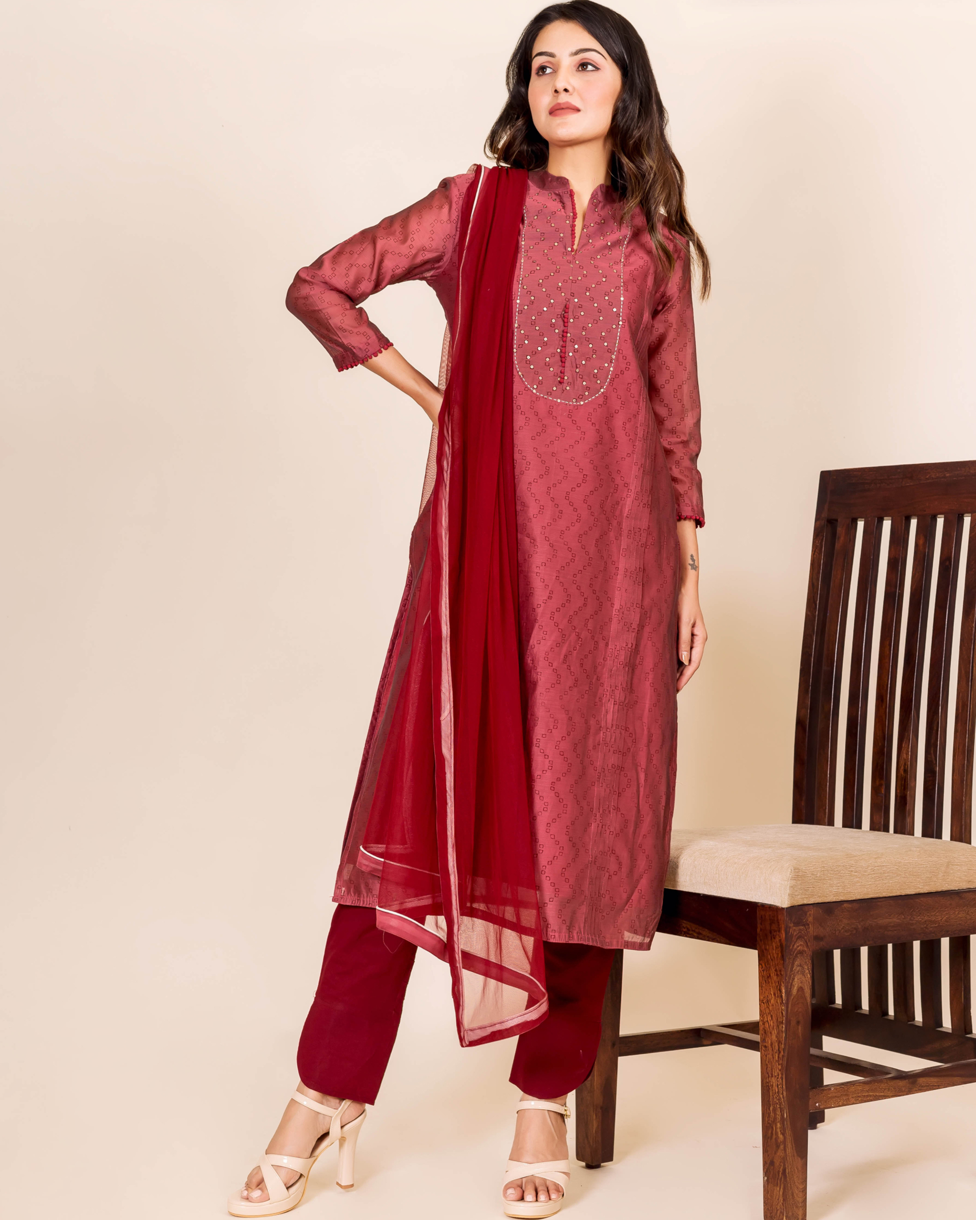Burgundy bandhej printed and embroidered suit set - set of three