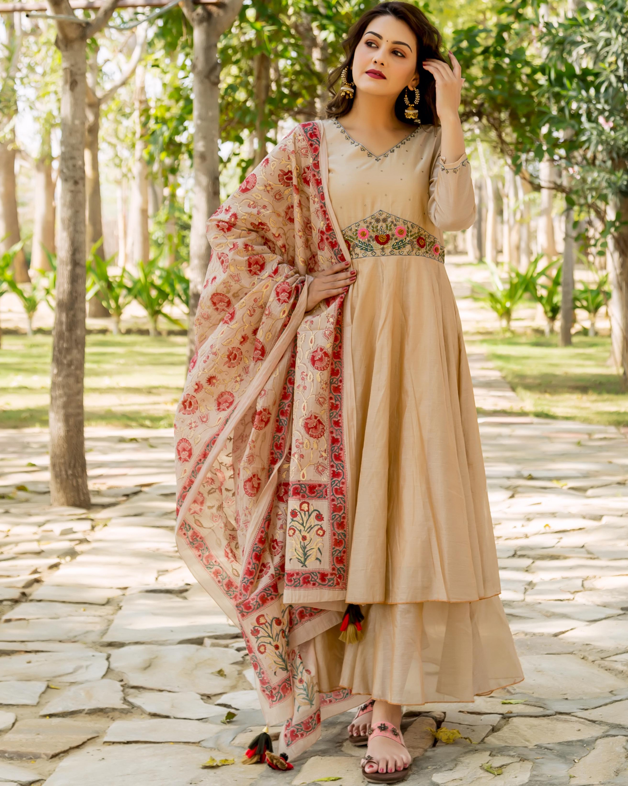 Beige hand embroidered layered kurta with dupatta - set of two