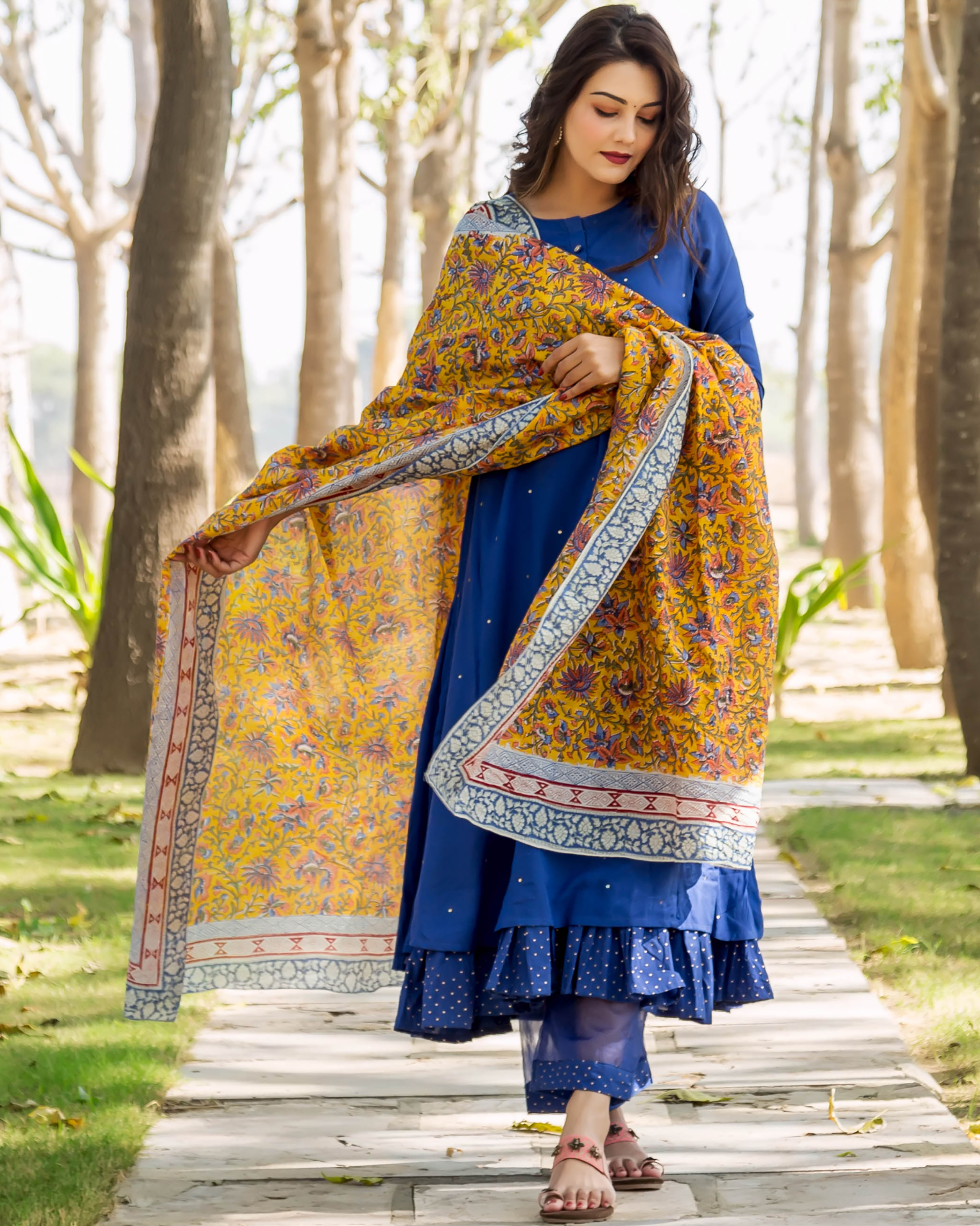 Azure blue embroidered and layered suit set - set of three