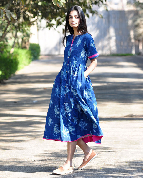 Blue bird buttoned dress
