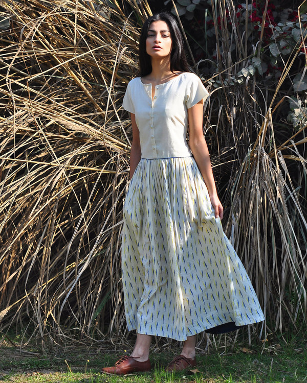 Ivory ikat buttoned maxi