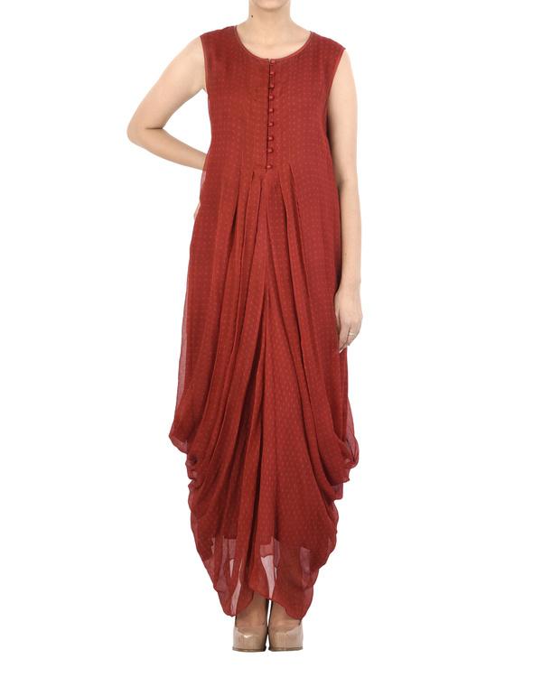 Maroon Chiffon pleated dhoti dress