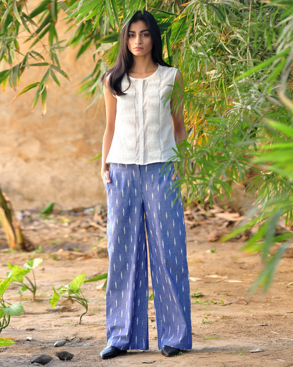 Wide legged ikat pants