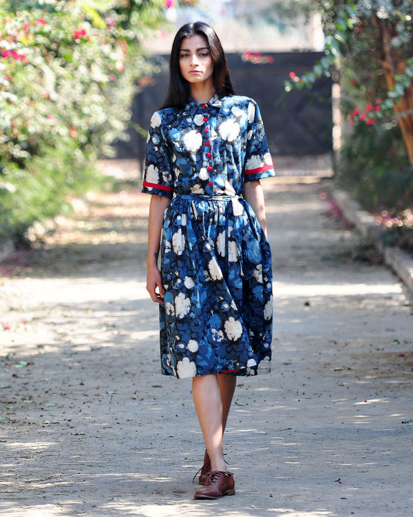 Floral fit and flare shirt dress