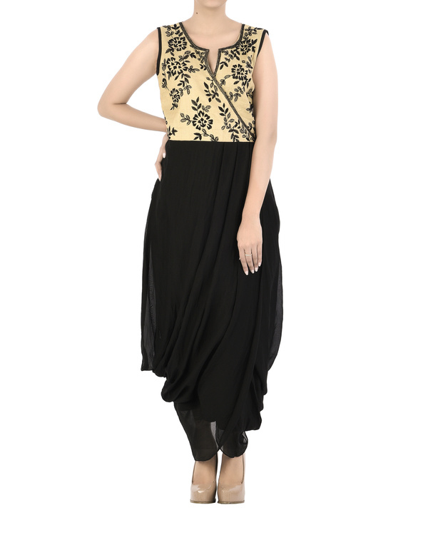 Emdroidered yoke dress with dhoti body