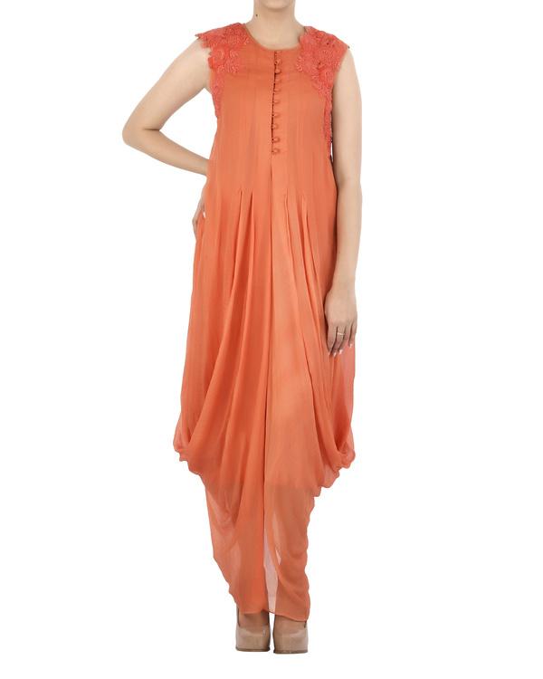 Orange Chiffon pleated dhoti dress