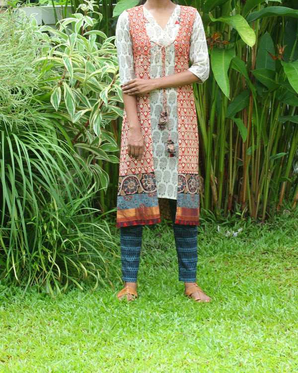 Off white kurti with rust overcoat