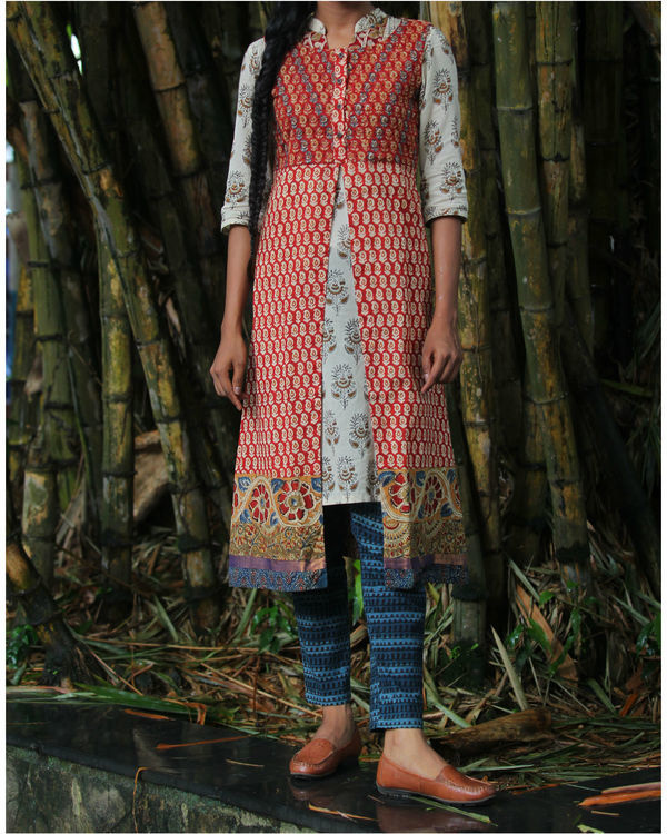 Twin set of red overcoat with white kurti