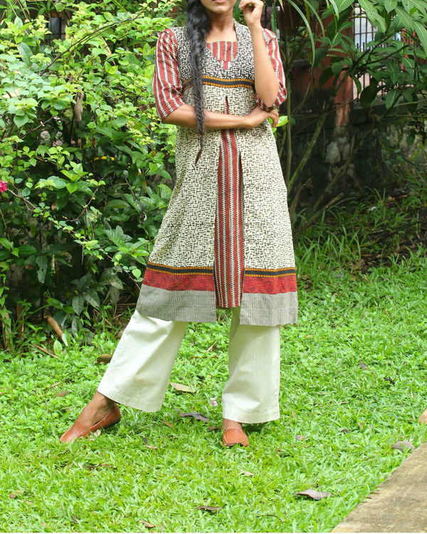 Off white kalamkari overcoat with maroon kurti