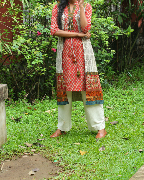 Red kurti with ivory overcoat