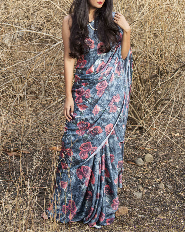 Vintage rose saree