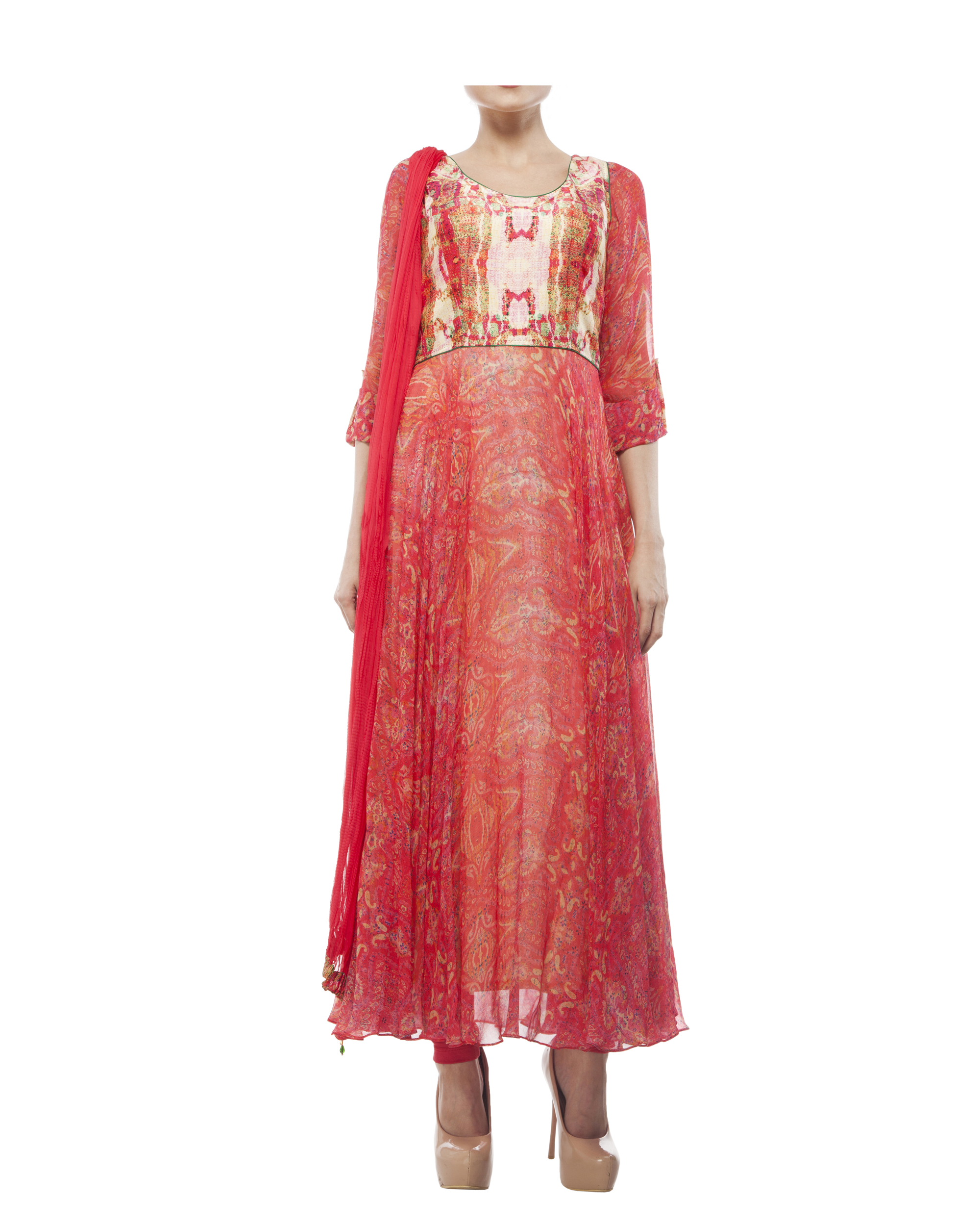 Georgette silk digital printed anarkali set
