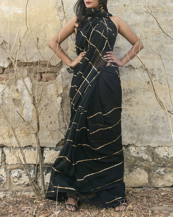 Golden black retro saree