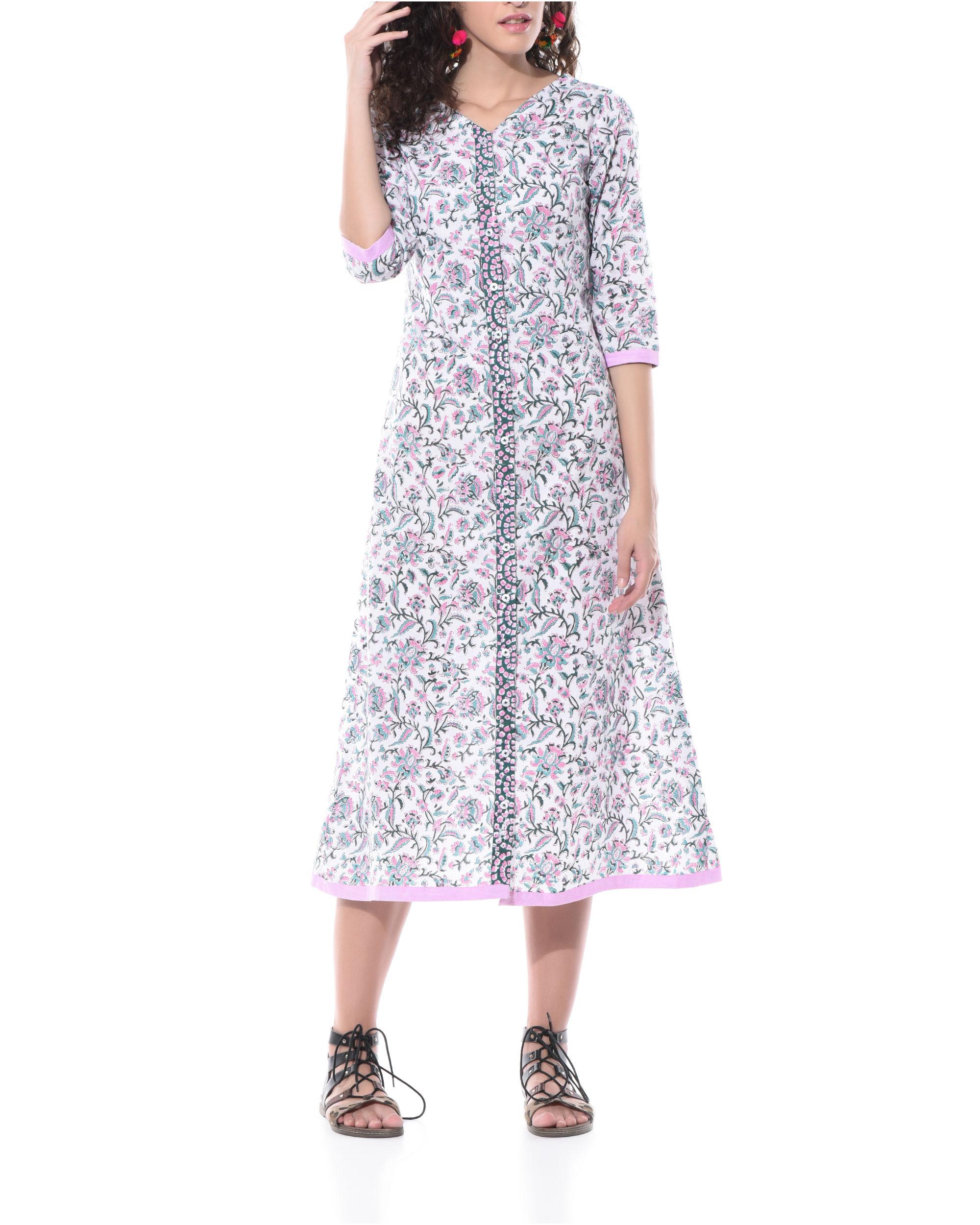Floral hand printed shirt dress