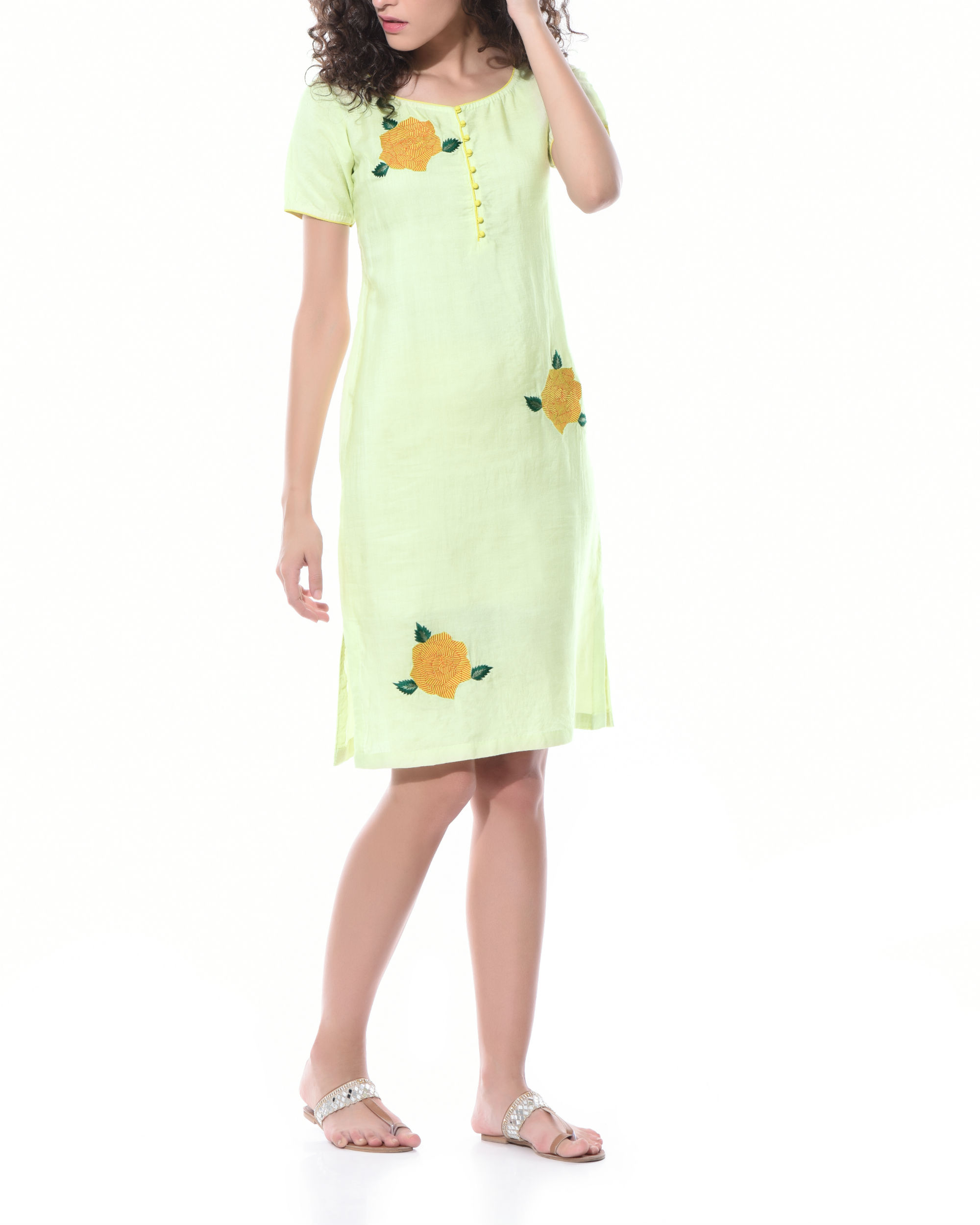 Lemon yellow shift dress