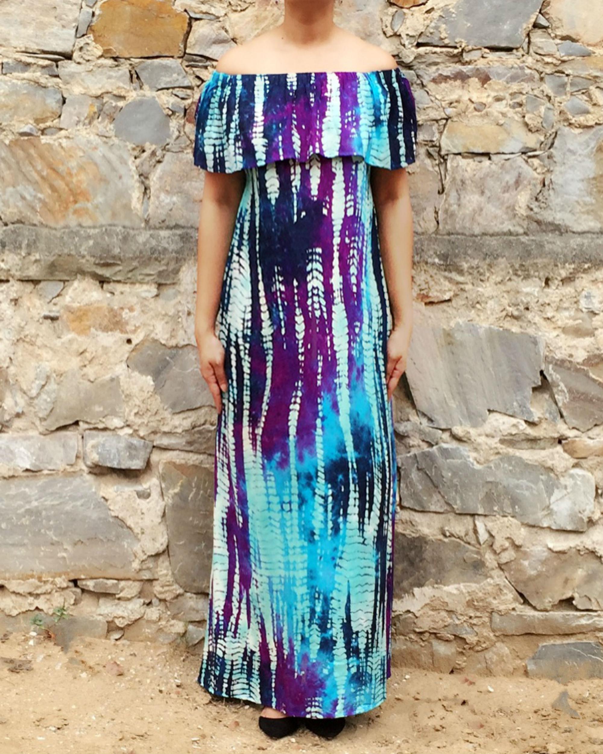 Triple style blue summer dress