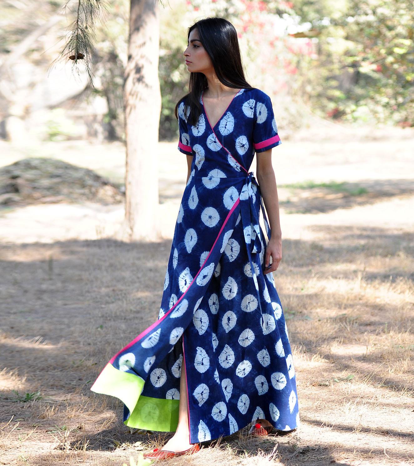 1fb7ef11d0 Indigo rush shibori gown by Khara Kapas