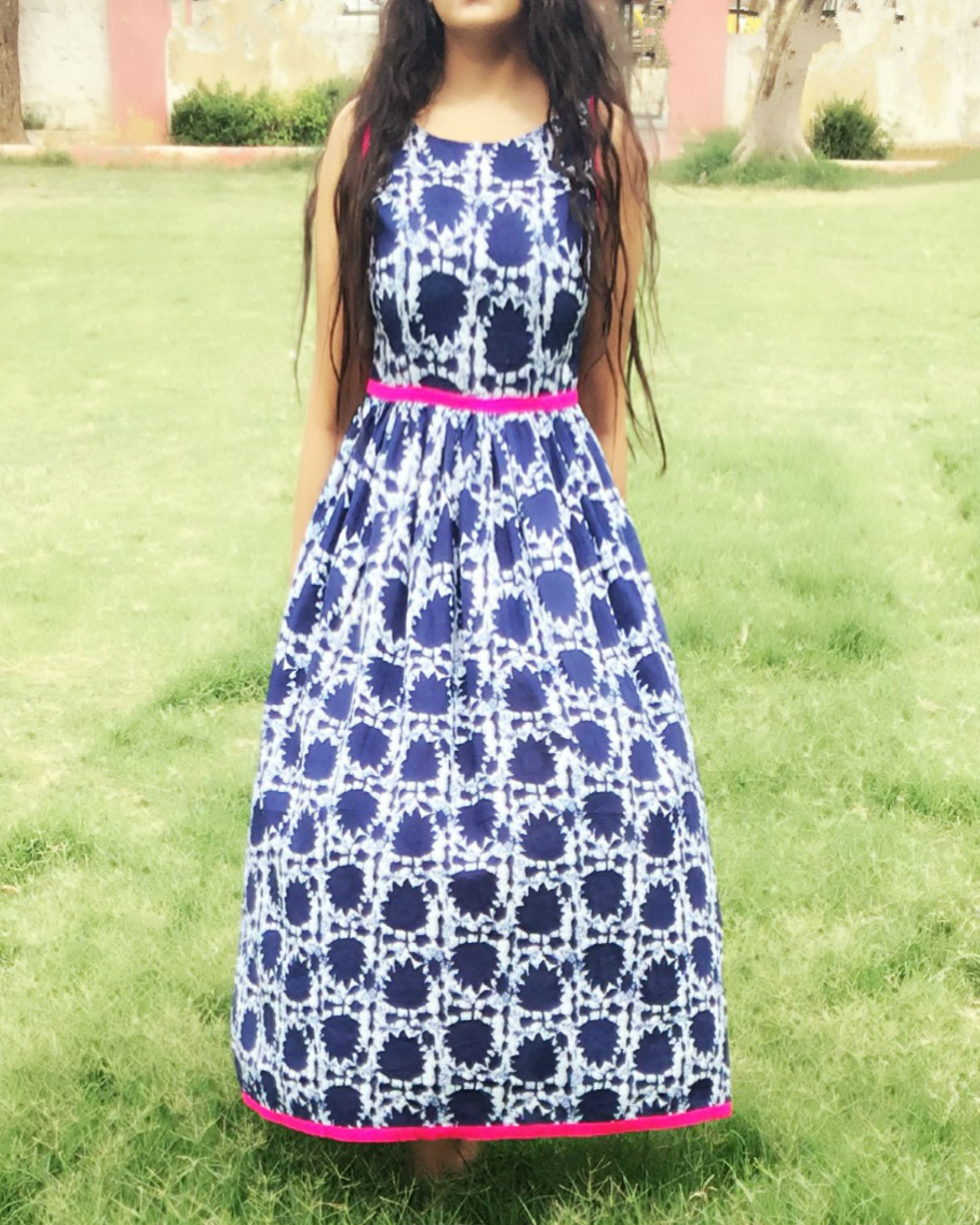 Maple print indigo dress