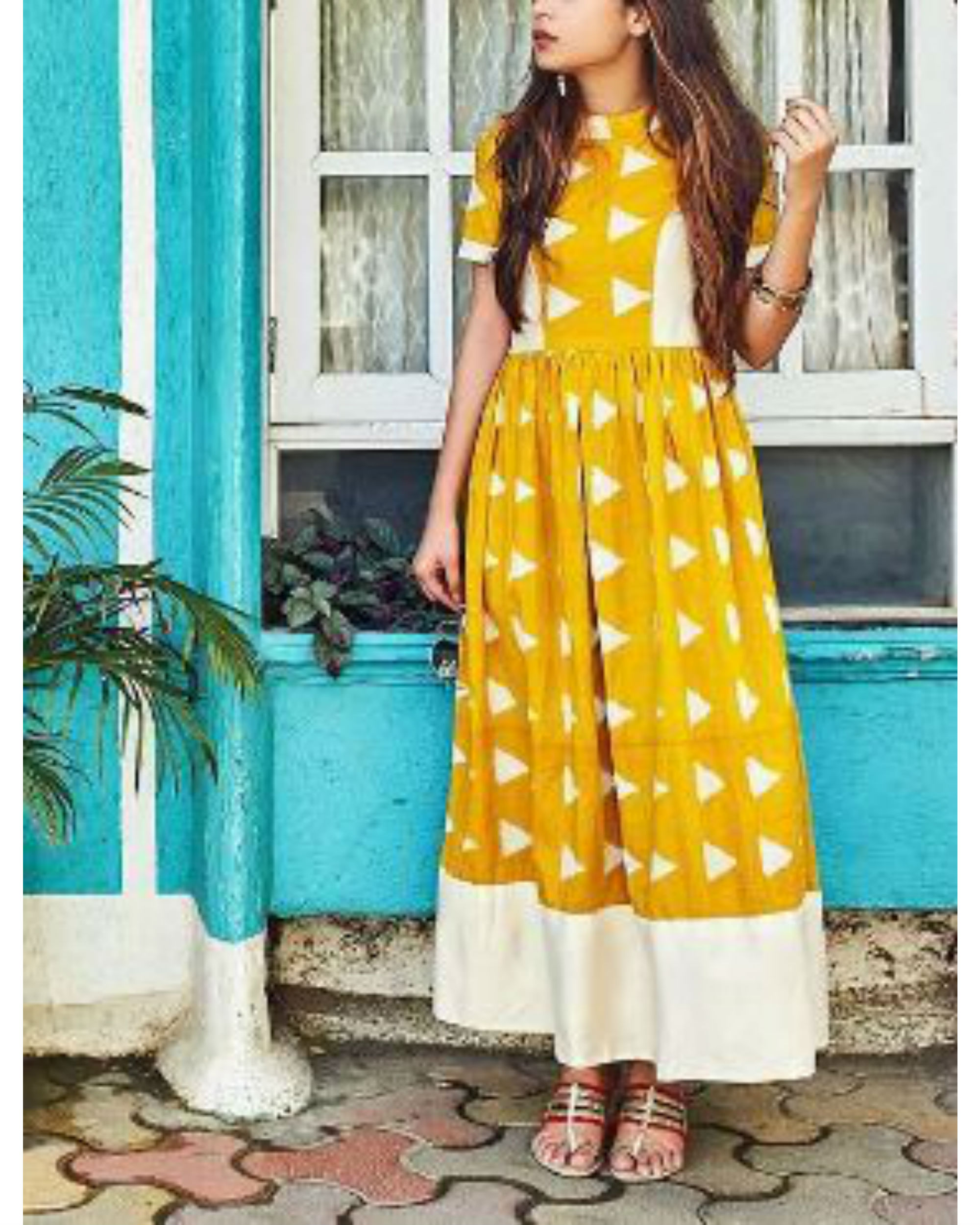 Yellow block dress