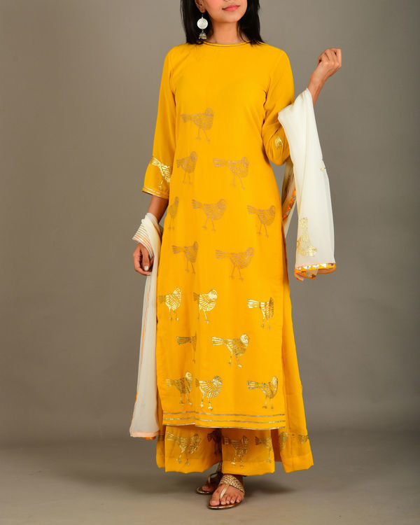 Mango yellow georgette bird suit set